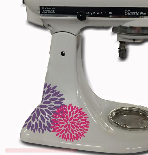Flower Burst Vinyl Decals Stickers, 2-color, for Kitchenaid Mixer Decoration, Hot Pink & Plum