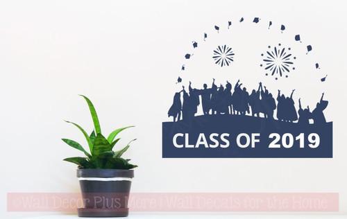 Class Of 2019 Vinyl Art Stickers Graduates Wall Decals Graduation Decor-Deep Blue