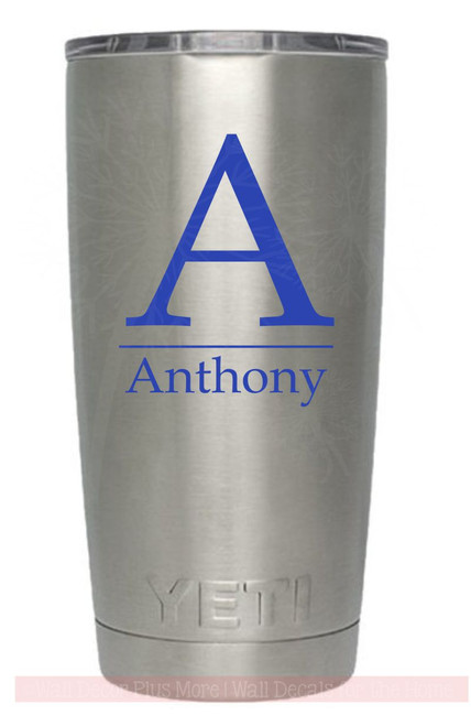 Set of 2 Modern Monogram Tumbler Personalized Stickers Vinyl Lettering Decals-Glossy Brilliant Blue
