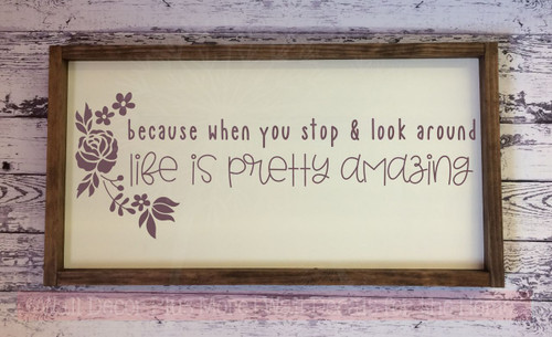 Life Is Amazing Inspirational Wall Quote Decals Vinyl Letters  Stickers Eggplant