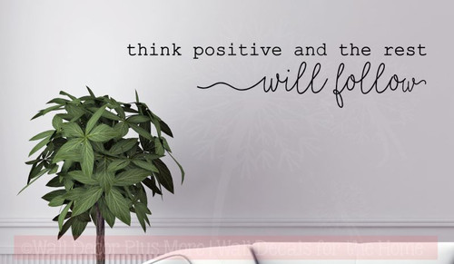 Think Positive Vinyl Lettering Decals Daycare Motivational Wall Quotes-Black
