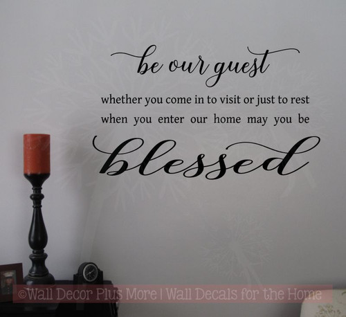 Be Our Guest Vinyl Lettering Decals Wall Stickers for Entry Home Decor-Black