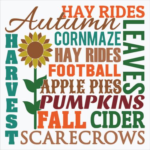 Fall Autumn Harvest Subway Art Vinyl Decal