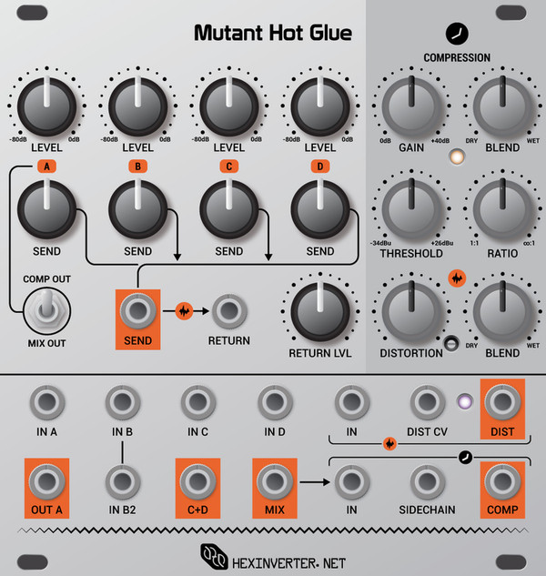 Hexinverter Électronique MUTANT HOT GLUE Analog Bus Mixer with Effects