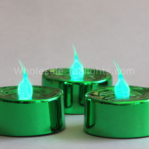 Flameless LED Green Metallic Tealight - 3 Pack