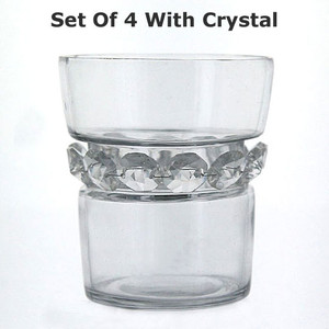 Set of 4 Glass Votive Holders with Crystal Decor