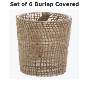 Set of 6 Burlap Covered Glass Votive Holder
