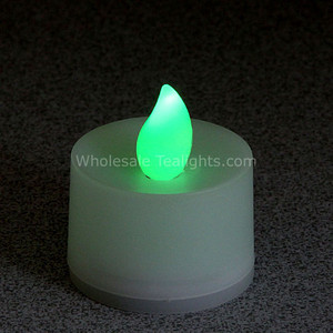 Non - Flicker Green Flameless TeaLight Candles - 12 Pack