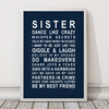Sister Print in Navy, with optional Australian-made white timber frame