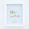 Personalised Gold Foil Paper Art Butterfly Birth Announcement Frame with pink and yellow butterflies