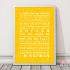 Batman Movie Quotes Print in optional Australian-made white timber frame in Yellow