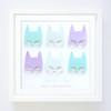 Personalised Superhero Girls Paper Art Frame in Aqua, Teal and Purple