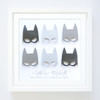 Personalised Superhero Girls Paper Art Frame in Monochrome
