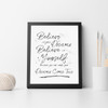Believe in your Dreams & Believe in Yourself Inspirational Wall Art Print in Monochrome
