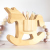 Handcrafted Wooden Unicorn Pen Holder in Natural