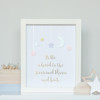 Personalised Loved to the Stars and Moon Gold Foil Paper Art Frame in Pink and Yellow