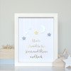 Personalised Loved to the Stars and Moon Gold Foil Paper Art Frame in Blue, Aqua and Yellow