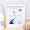 Personalised Trains and Planes Silver Foil Birth Announcement Paper Art Frame in Navy, Aqua and Grey