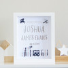 Personalised Trains and Planes Silver Foil Birth Announcement Paper Art Frame in Stars and Stripes
