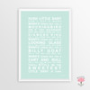Hush Little Baby Instant Digital Downloadable Print in Mint