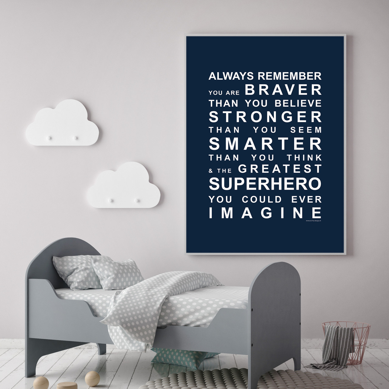 Always Remember   Youu0027re A Superhero Wall Art Print In Navy With Optional  White