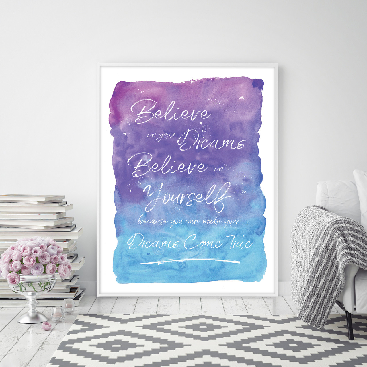 Believe In Your Dreams U0026 Believe In Yourself Inspirational Wall Art Print  In Purple U0026 Blue