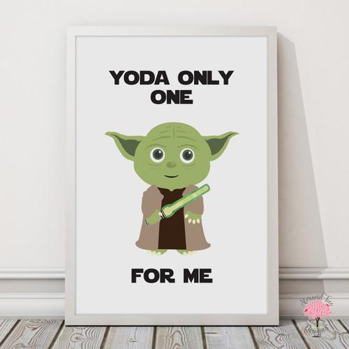 Star Wars Yoda Print with optional Australian-made white timber frame