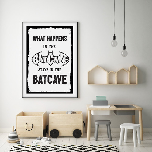 What Happens in the Batcave Print in White, with optional Australian-made black timber frame