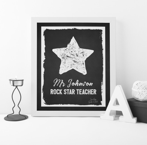 Rock Star Teacher Print in Black, with optional Australian-made white timber frame.