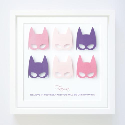 Personalised Superhero Girls Paper Art Frame in Pink and Purple