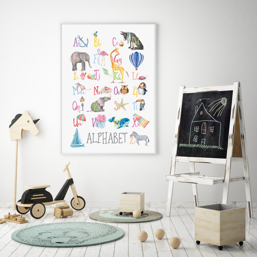 Watercolour Alphabet Educational Art Print, with optional Australian made white timber frame