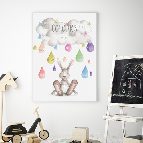 Watercolour Colours Educational Art Print, with optional Australian made white timber frame