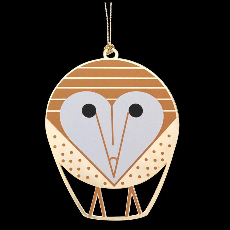 Charley Harper Brass Barn Owl Ornament Adornment