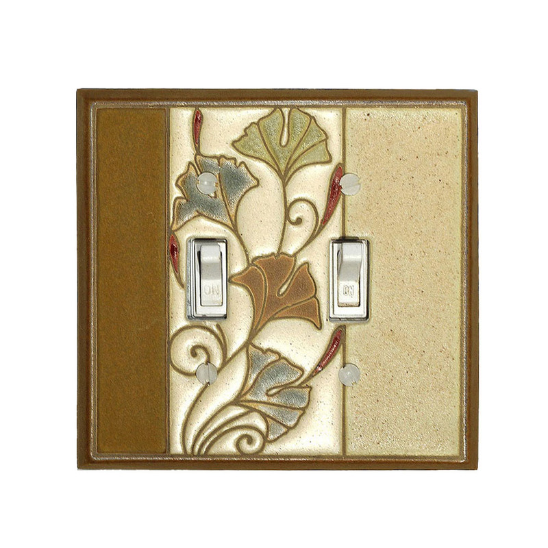 Art Nouveau Ginkgo Ceramic Tile Switchplate