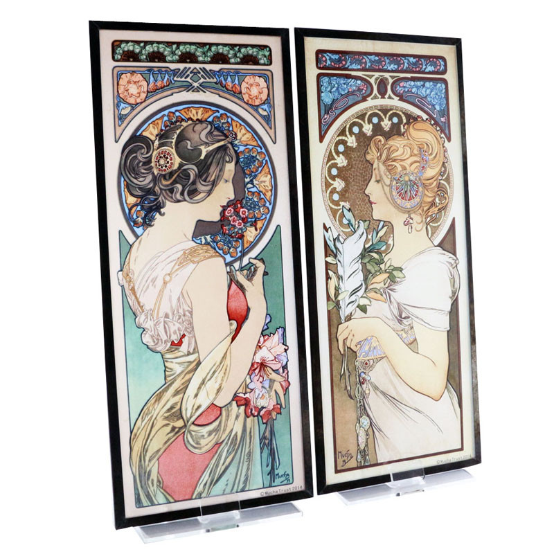 Alphonse Mucha Feather and Primrose Stained Glass
