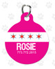 Personalized Pet Tag: Chicago Flag Round