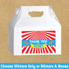 Personalized Big Top Circus Birthday Favor Labels & Gable Boxes