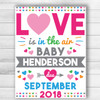 Personalized Love Is In The Air Valentine's Day Pregnancy Announcement Sign