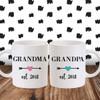 Grandma & Grandpa Established Arrow Mugs