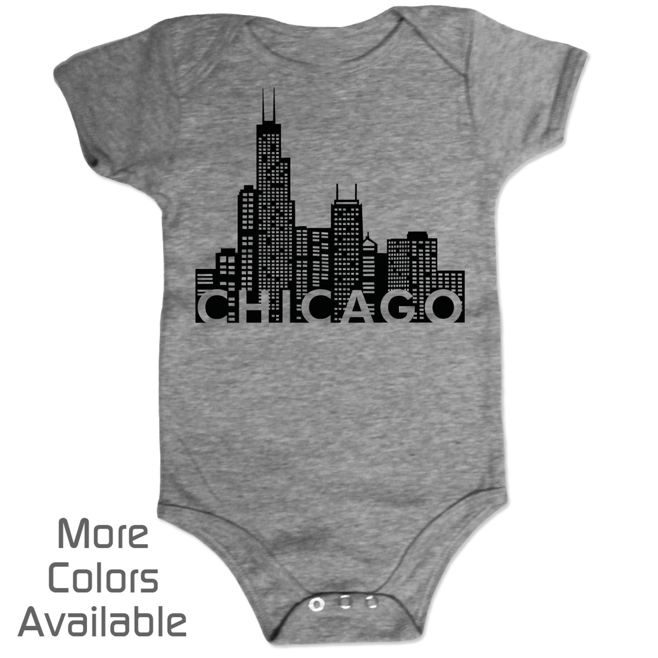 Chicago baby gifts chicago baby shirts chicago flag baby tee personalized chicago skyline baby shirt negle Images