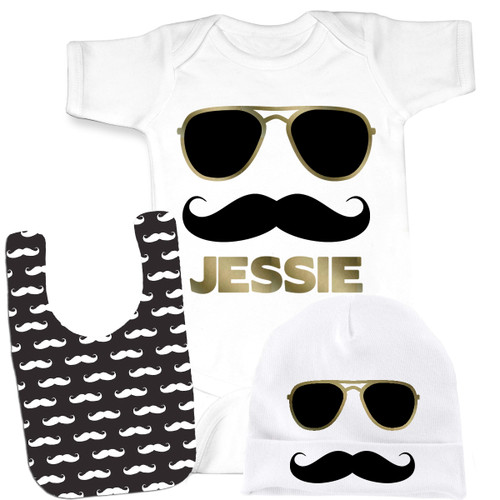Mustache baby and kids gifts mustache kids tees psychobaby personalized mr cool stache gift set negle Image collections