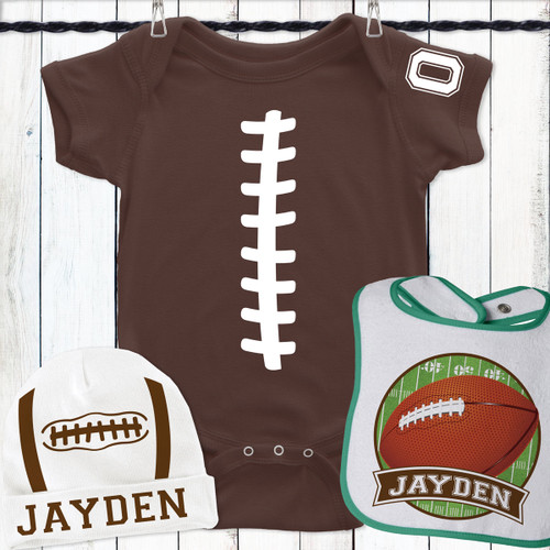 Personalized Football Belly Gift Set White