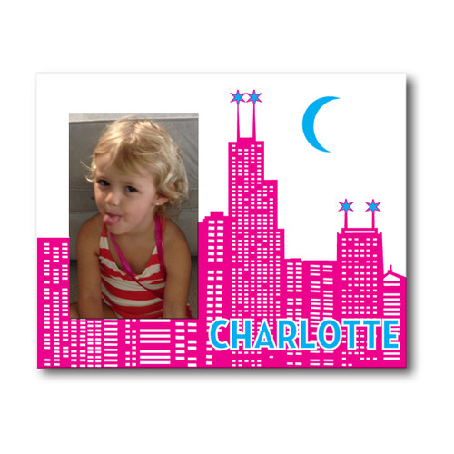 Personalized baby picture frames custom baby photo frame personalized chicago skyline picture frame fuchsia negle Choice Image