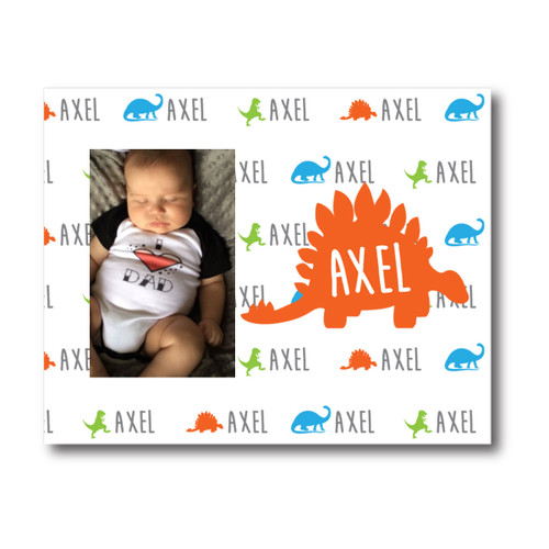 Personalized Name Game Picture Frame: Dino Orange