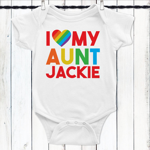 Personalized Rainbow Love Baby Shirt: Aunt