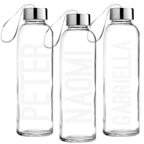 Personalized Mod Squad Etched Glass Water Bottle
