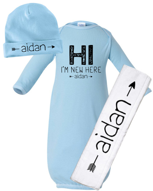 Personalized baby gowns and rompers custom infant gowns and personalized im new here baby negle Choice Image