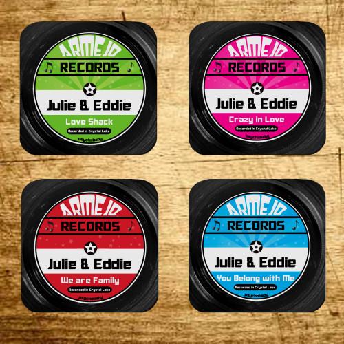 Personalized Cut A Record Coaster Set