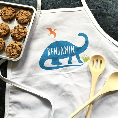 Personalized Jurassic Dino Kid's Apron Blue