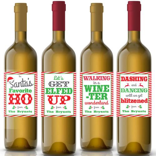 Funny Custom Christmas Wine Labels